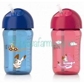 Avent taza con pajita330 ml azul y rosa (colores surtidos)