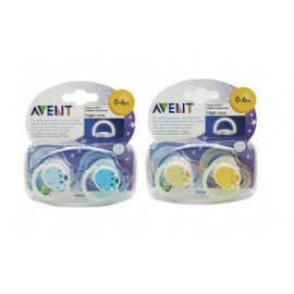 Avent 2 chupetes nocturnos 0-6 meses