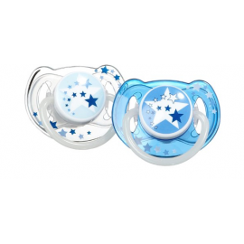 Avent 2 chupetes nocturnos 6-18meses Azul