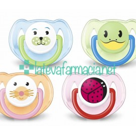 Avent 2 chupetes animales 6-18meses (colores surtidos)